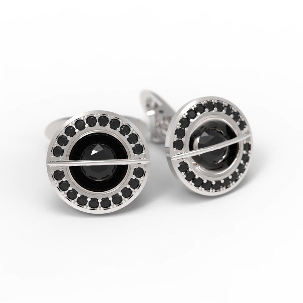Mansetni gumbi crni diamanti